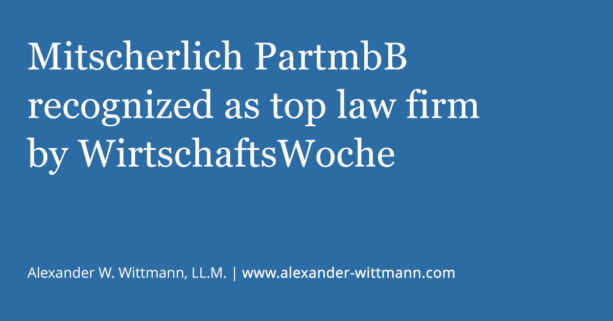 Mitscherlich PartmbB recognized as top patent law firm by WirtschaftsWoche